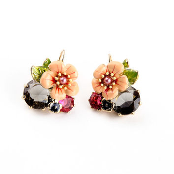 Shiny Gold Plated Fresh Earring 2015 Summer New Arrival Bohemia Glass Enamel Flower Earring Accessories Feminine