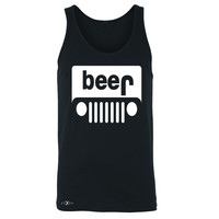 Zexpa Apparel™ Beer Jeep Funny  Men's Jersey Tank Drinking Off-Road Party Alcohol Sleeveless