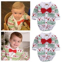 2 PCS Casual Newborn Baby Girl Boy XMAS Snowflake Coat+Romper Outfits Party Clothes Christmas baby rompers newborn 2016 latest