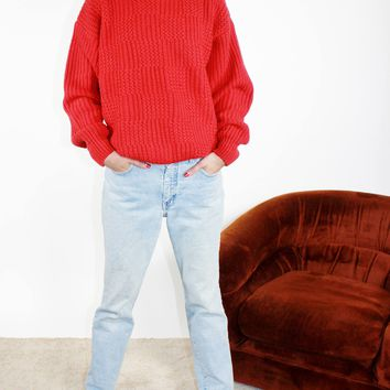 Red Chunky Knit Fisherman Sweater / L