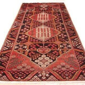 4 x 10 Rust Semi-Antique Red Hamadan Large Runner Persian Handmade Rug