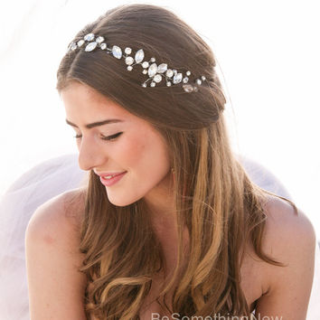 Rhinestone Wedding Hair Vine, Wired Rhinestone Wedding Hair Accessory, Silver Tiara Bridal Headpiece