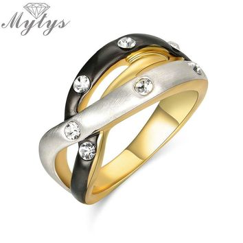 Mytys Gypsy Setting Crystal 3 Color Ring Black Gold and Silver Irregular 3 Layers Wedding Bridal Party Two Tone Jewelry R1924