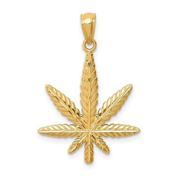 14k Yellow Gold Cannabis Leaf Pendant