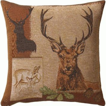Deer Doe and Stag European Cushion