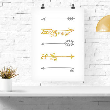 "Gold tribal Arrows - INSTANT Download PDF 8""x10"" - Printable Tribal Arrows - gold boho chic print, Home Decor Deer Printable Gold Glitter"