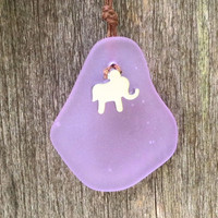 Elephant Lilac Sea Glass Necklace  by Wave of Life