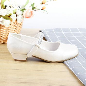 Princess Kids Genuine Leather Shoes For Girls Crystal Casual Glitter Children 2.5cm Low Heel Girls White Party Shoes Fletiter
