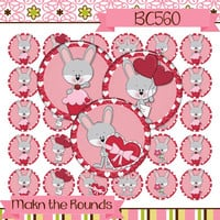 Valentine's Day Bunny Digital Collage - 1 inch Circle Bottle Cap Image - Instant Download