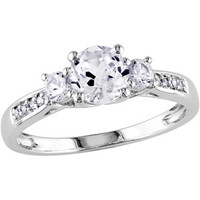 Walmart: 1-1/3 Carat T.G.W. Created White Sapphire and Diamond Accent 10 Carat White Gold Three-Stone Engagement Ring