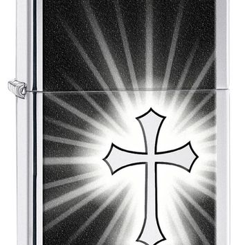 High Polish Chrome Cross on Black Backgrond Zippo Lighter