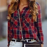 Long Sleeve Plaid Pockets Beaded Blouse