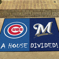 "MLB - Chicago Cubs - MLB - Milwaukee Brewers House Divided Rugs 33.75""""x42.5"""""