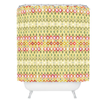 Sharon Turner Beach House Ikat Pattern Shower Curtain