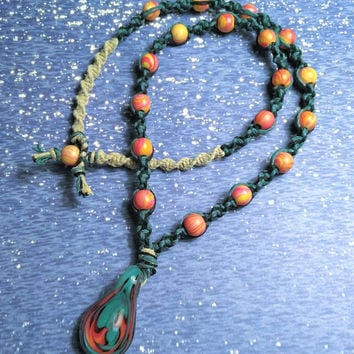 Men's Hemp Necklace/Glass Necklace/Handblown Glass Pendant/Wood Necklace/Men's Jewelry/Hemp Jewelry,  Handmade/Men's Hemp,