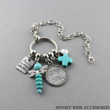 Gypsy Soul Rear View Mirror Decoration - Turquoise  & Dragonfly Keychain Car Charm. Christian Gifts For Free Spirit - Gypsy Car Accessories
