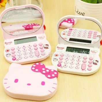Mini Cute Pink Hello Kitty Calculator LCD Electronics Mirror Calculadora Girls Gifts Kalkulaator Rechner Rekenmachine