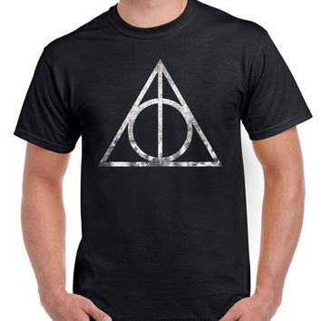 Harry Potter Shirt Gryffindor Slytherin Ravenclaw Hufflepuff Deathly Hallows Logo T-Shirt