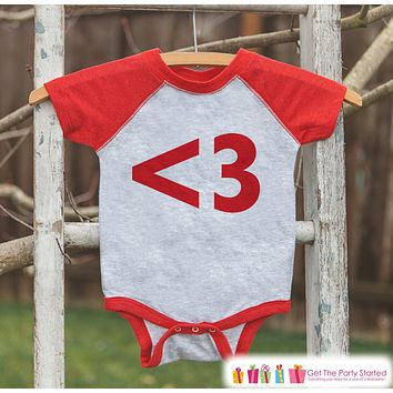 Kids Valentines Outfit - Red Heart Valentine's Day Shirt or Onepiece - Boy or Girl Valentine Shirt - Kids, Baby, Toddler, Youth - <3 Red