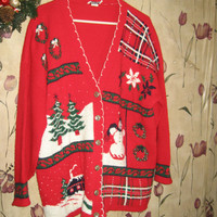 Ugly Christmas oversized Sweater glittery country home wreaths trees snowman plaid red Cardigan sz 22