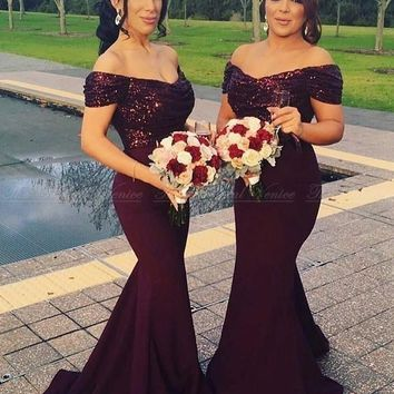 Vestidos de madrinhas 2017 Sequined Mermaid Bridesmaid Dresses Off the Shoulder Burgundy Hunter Pink Long Wedding Party Dress