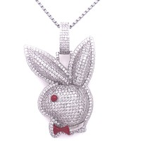 Bunny Red Bow Micro Pave Hip Hop Pendant Free Box Chain