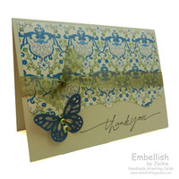 Thank You Card - Butterfly - Handmade - Blank