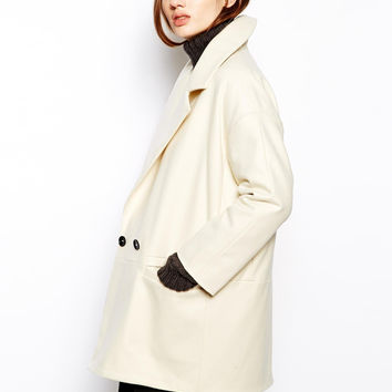 Milky Lapel Coat With Pocket