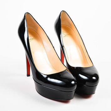 DCCK2 Black ?Christian Louboutin Patent Leather   Bianca 120   Platform Pumps