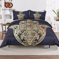 BeddingOutlet Hamsa Hand Duvet Cover Set With Pillowcase Dark Blue Bedding Set Vintage Soft Microfiber Quilt Cover Set 3Pcs