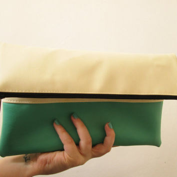 Clutch purse Foldover,  Color Block, Cream and dark mint, Bridesmaids gift