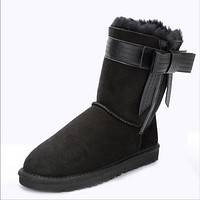 UGG feminine winter new fur one snow boots warm non-slip boots Black
