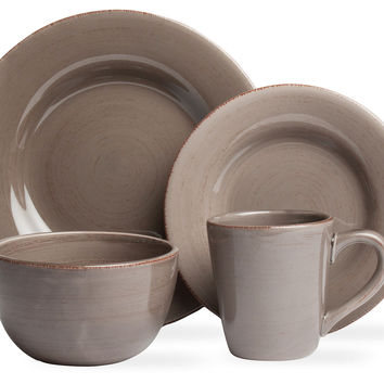 16-Pc Sonoma Dinnerware Set, Warm Gray, Dinner Plates