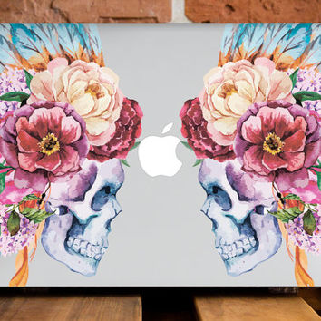 MacBook Pro Hard Case MacBook Pro 15 Case MacBook Retina 15 Case MacBook Plastic Cover MacBook Case Skull Flowers Indian Watercolor Skeleton