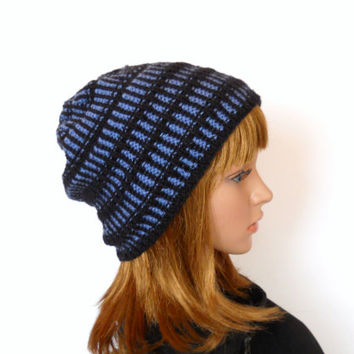 Railroad Stripe Beanie, Lightweight Slouchy Beanie in Black with Blue Stripes, Unisex Beanie for Men or Women, Hipster Beanie, Skater Hat