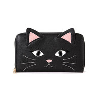 Black Kitty Cat Face Zip Black Wallet