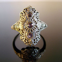 Sterling Silver Vintage Style Ring with by Firefallstudios on Etsy