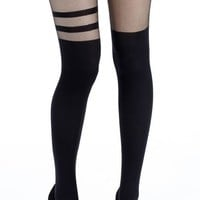 Buy Black One Leg Double Stripe Over The Knee Tights