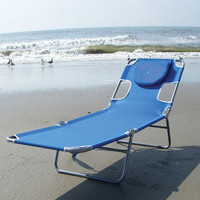Blue Chaise Lounge Beach Chair With Rustproof Steel Frame