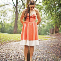Coral Strapless Sweetheart Dress - MADE TO ORDER
