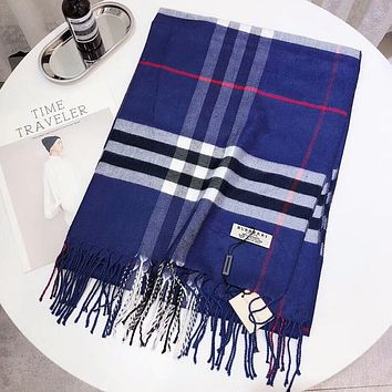 Burberry Autumn Winter Popular Women Cashmere Tassel Cape Scarf Scarves Shawl Accessories Blue