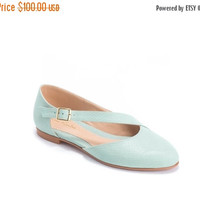 Womens designer flats / non leather flat shoes / vegan shoes / closed toe flats / diagonal cross strap / pastel sky blue shoe / Roni K