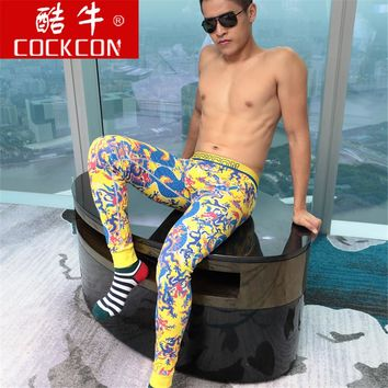 Cockcon 2017 Winter Warm men's print long johns beauty themal tight-fitting basic warm leggings male long johns 537