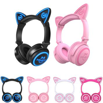 Mindkoo Cat Ear Bluetooth Headphones LED Wireless Stereo Flashing Glowing Headset Gaming Earphones Christmas gift for Adult kid