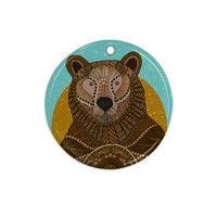 "Art Love Passion ""Bear in Grass"" Brown Blue Ceramic Circle Ornament"