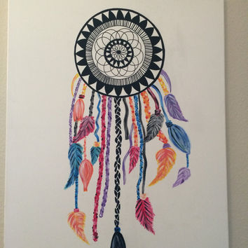 Dream catcher canvas painting from artbybrileflore on etsy for Dream catcher spray painting
