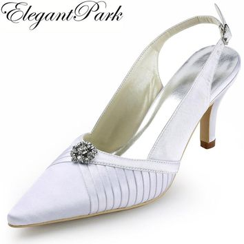 """Woman wedding shoes EP11113 White Ivory Pointed Toe Slingback Rhinestone Pleated 3"""" High Heel Pumps Satin Bridal Prom Sandals"""