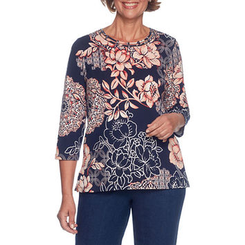 Alfred Dunner Gypsy Moon 3/4 Sleeve Crew Neck Floral T-Shirt-Womens - JCPenney