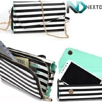 Apple iPhone 6 Womens Wristlet Clutch Case {Black and White Stripes With Matte Aqua Teal} with Credit Card Holder and Crossbody Shoulder Strap