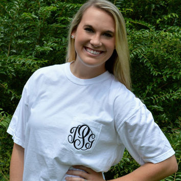 Comfort Colors Short Sleeve Monogrammed Pocket Tee, Pocket Tshirts,